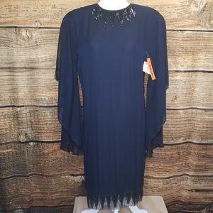 Vintage Loehmanns Backroom Silk Navy Dress sz 6